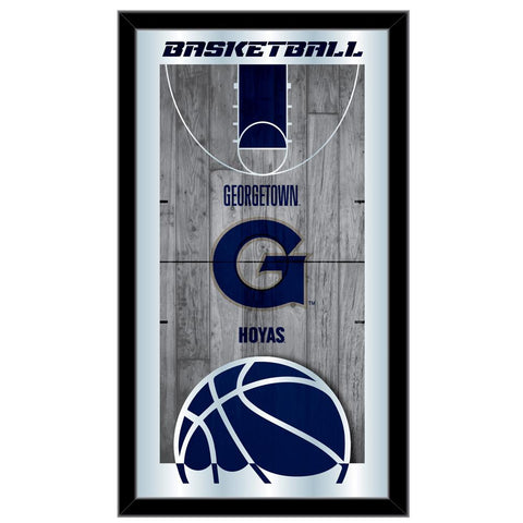 "Georgetown Hoyas HBS Navy Basketball Framed Hanging Glass Wall Mirror (26""x15"")"