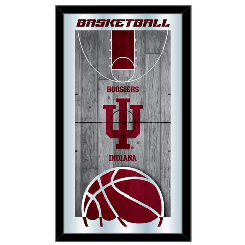 "Indiana Hoosiers HBS Red Basketball Framed Hanging Glass Wall Mirror (26""x15"")"