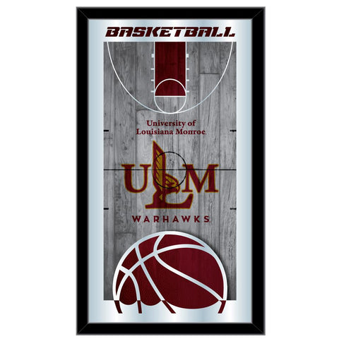 "ULM Warhawks HBS Red Basketball Framed Hanging Glass Wall Mirror (26""x15"")"