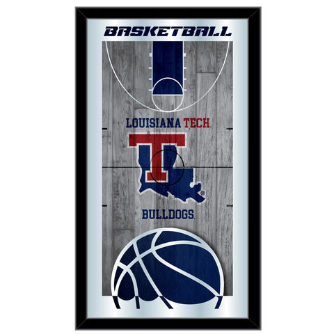 "Louisiana Tech Bulldogs HBS Basketball Framed Hang Glass Wall Mirror (26""x15"")"