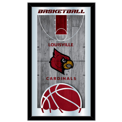 "Shop Louisville Cardinals HBS Basketball Framed Hanging Glass Wall Mirror (26""x15"") - Sporting Up"