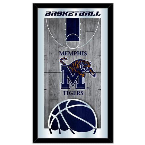 "Memphis Tigers HBS Blue Basketball Framed Hanging Glass Wall Mirror (26""x15"") - Sporting Up"