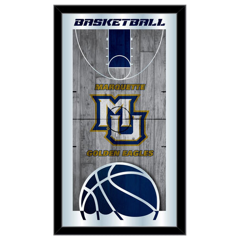 "Marquette Golden Eagles HBS Basketball Framed Hang Glass Wall Mirror (26""x15"")"