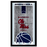"Ole Miss Rebels HBS Black Basketball Framed Hanging Glass Wall Mirror (26""x15"") - Sporting Up"
