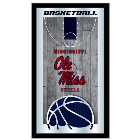 "Shop Ole Miss Rebels HBS Black Basketball Framed Hanging Glass Wall Mirror (26""x15"") - Sporting Up"