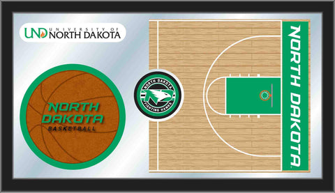 "North Dakota Fighting Hawks HBS Basketball Framed Glass Wall Mirror (26""x15"") - Sporting Up"