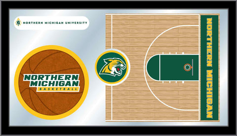 "Northern Michigan Wildcats HBS Basketball Framed Glass Wall Mirror (26""x15"")"