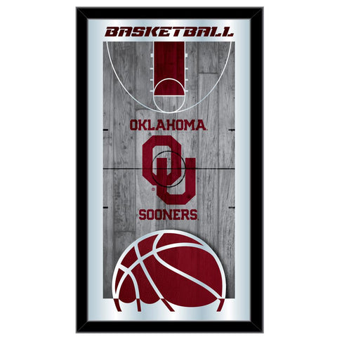"Oklahoma Sooners HBS Basketball Framed Hanging Glass Wall Mirror (26""x15"")"