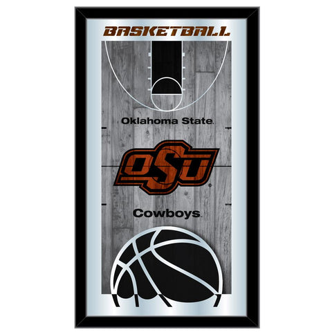 "Oklahoma State Cowboys HBS Basketball Framed Hanging Glass Wall Mirror (26""x15"")"