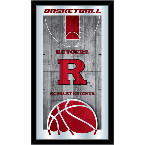 "Rutgers Scarlet Knights HBS Basketball Framed Hang Glass Wall Mirror (26""x15"")"