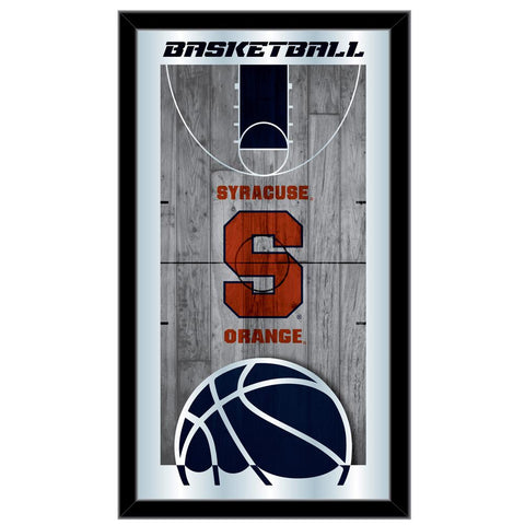 "Syracuse Orange HBS Navy Basketball Framed Hanging Glass Wall Mirror (26""x15"")"