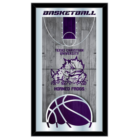 "TCU Horned Frogs HBS Basketball Framed Hanging Glass Wall Mirror (26""x15"")"