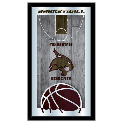 "Texas State Bobcats HBS Basketball Framed Hanging Glass Wall Mirror (26""x15"")"