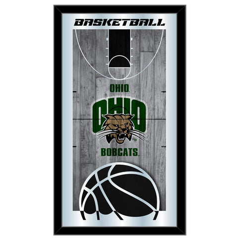 "Ohio Bobcats HBS Green Basketball Framed Hanging Glass Wall Mirror (26""x15"")"