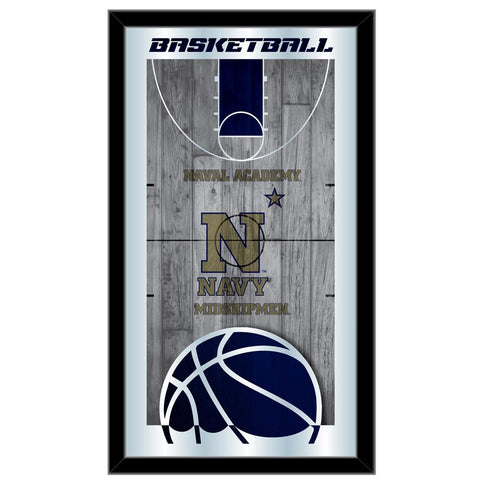 "Navy Midshipmen HBS Basketball Framed Hanging Glass Wall Mirror (26""x15"")"