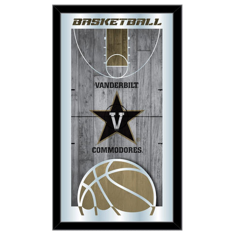"Vanderbilt Commodores HBS Basketball Framed Hanging Glass Wall Mirror (26""x15"")"