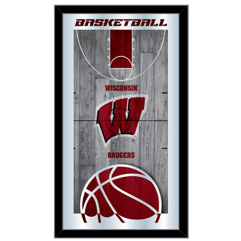 "Wisconsin Badgers HBS Red Basketball Framed Hanging Glass Wall Mirror (26""x15"")"