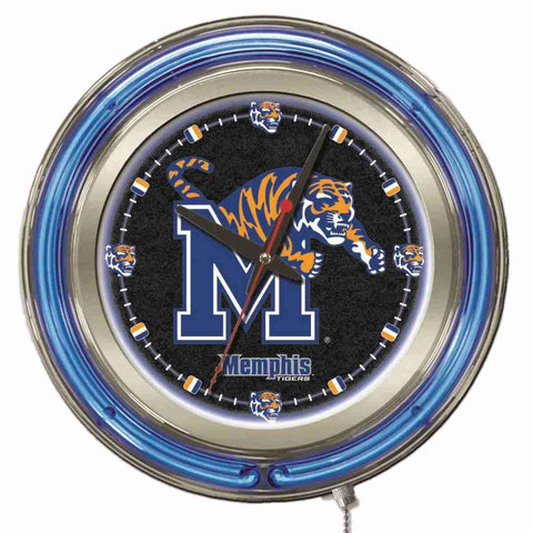 "Memphis Tigers HBS Neon Blue Black College Battery Powered Wall Clock (15"")"