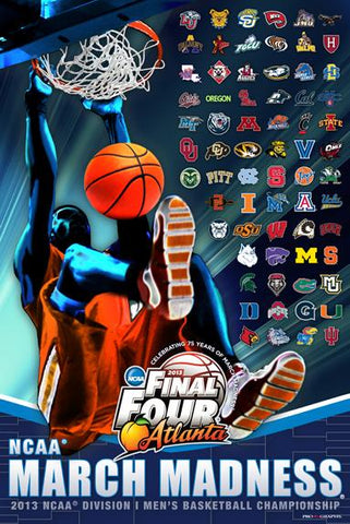 2013 Official NCAA Final Four March Madness All Teams Basketball Print Poster - Sporting Up