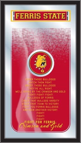"Ferris State Bulldogs Holland Bar Stool Co. Fight Song Mirror (26"" x 15"") - Sporting Up"