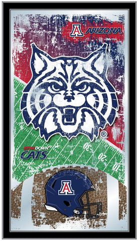 "Arizona Wildcats HBS Blue Football Framed Hanging Glass Wall Mirror (26""x15"")"