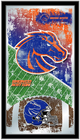"Shop Boise State Broncos HBS Football Framed Hanging Glass Wall Mirror (26""x15"") - Sporting Up"
