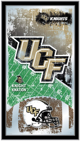 "UCF Knights HBS Black Football Framed Hanging Glass Wall Mirror (26""x15"")"
