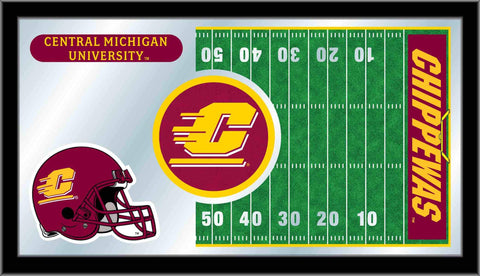 "Central Michigan Chippewas HBS Football Framed Glass Wall Mirror (26""x15"")"