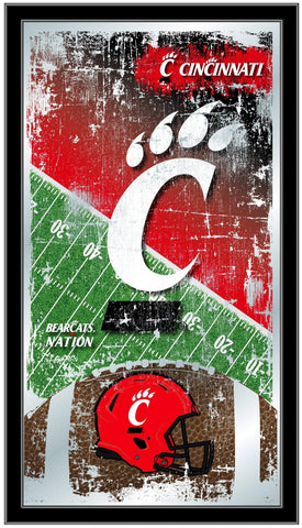 "Cincinnati Bearcats HBS Football Framed Hanging Glass Wall Mirror (26""x15"")"