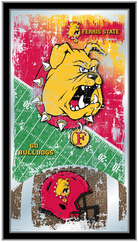 "Ferris State Bulldogs HBS Football Framed Hanging Glass Wall Mirror (26""x15"")"
