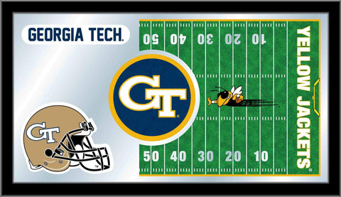 "Georgia Tech Yellow Jackets HBS Football Framed Glass Wall Mirror (26""x15"")"