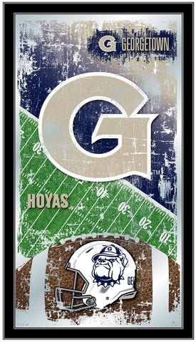 "Georgetown Hoyas HBS Navy Football Framed Hanging Glass Wall Mirror (26""x15"")"