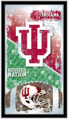 "Indiana Hoosiers HBS Red Football Framed Hanging Glass Wall Mirror (26""x15"")"