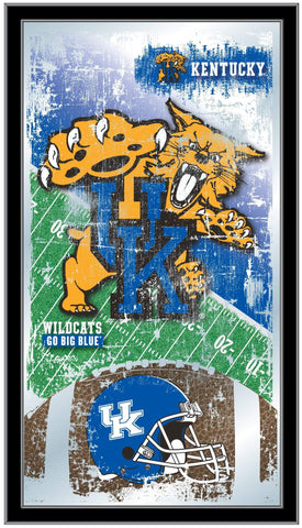"Shop Kentucky Wildcats HBS Blue Football Framed Hanging Glass Wall Mirror (26""x15"") - Sporting Up"