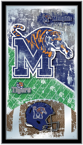 "Memphis Tigers HBS Blue Football Framed Hanging Glass Wall Mirror (26""x15"") - Sporting Up"
