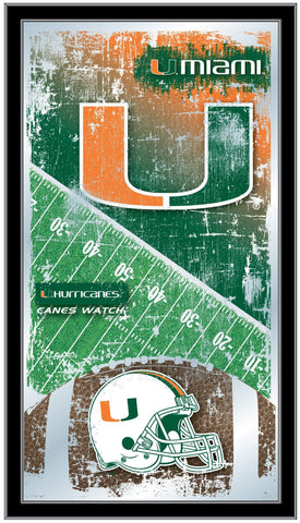 "Miami Hurricanes HBS Football Framed Hanging Glass Wall Mirror (26""x15"")"