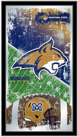 "Montana State Bobcats HBS Football Framed Hanging Glass Wall Mirror (26""x15"")"