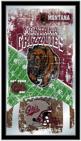 "Montana Grizzlies HBS Football Framed Hanging Glass Wall Mirror (26""x15"")"