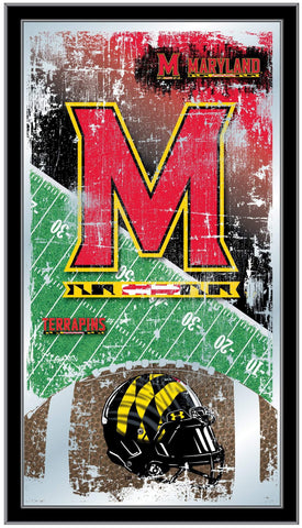 "Maryland Terrapins HBS Football Framed Hanging Glass Wall Mirror (26""x15"")"