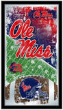 "Ole Miss Rebels HBS Blue Football Framed Hanging Glass Wall Mirror (26""x15"") - Sporting Up"