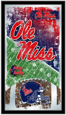 "Shop Ole Miss Rebels HBS Blue Football Framed Hanging Glass Wall Mirror (26""x15"") - Sporting Up"