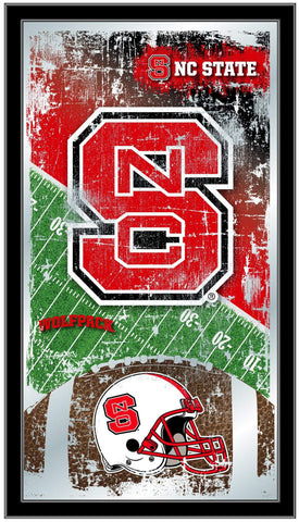 "NC State Wolfpack HBS Football Framed Hanging Glass Wall Mirror (26""x15"")"