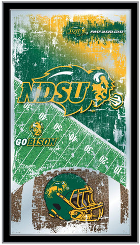 "North Dakota State Bison HBS Football Framed Hanging Glass Wall Mirror (26""x15"")"
