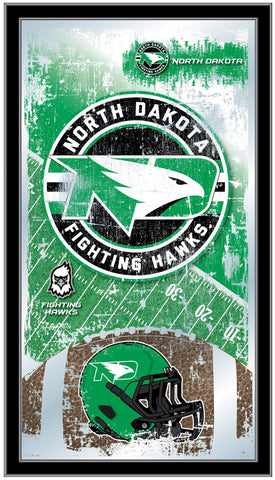"North Dakota Fighting Hawks HBS Football Framed Hang Glass Wall Mirror (26""x15"")"