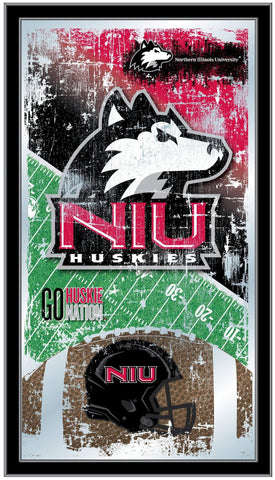 "Northern Illinois Huskies HBS Football Framed Hang Glass Wall Mirror (26""x15"")"