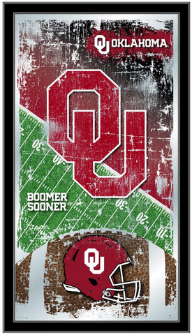 "Oklahoma Sooners HBS Football Framed Hanging Glass Wall Mirror (26""x15"")"