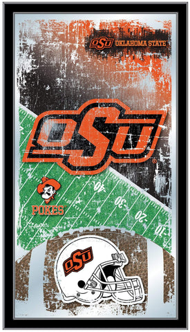 "Oklahoma State Cowboys HBS Football Framed Hanging Glass Wall Mirror (26""x15"")"