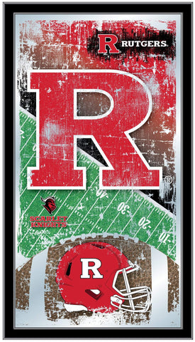 "Rutgers Scarlet Knights HBS Football Framed Hanging Glass Wall Mirror (26""x15"")"
