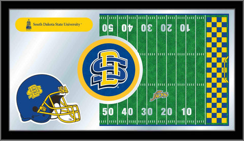 "Shop South Dakota State Jackrabbits HBS Football Framed Glass Wall Mirror (26""x15"") - Sporting Up"