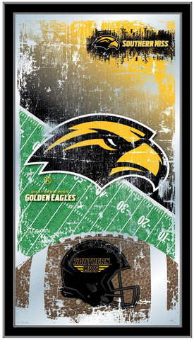 "Shop Southern Miss Golden Eagles HBS Football Framed Hang Glass Wall Mirror (26""x15"") - Sporting Up"